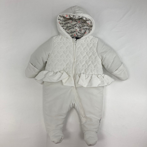 White Heart Ruffle Snow Suit 3-6 mth