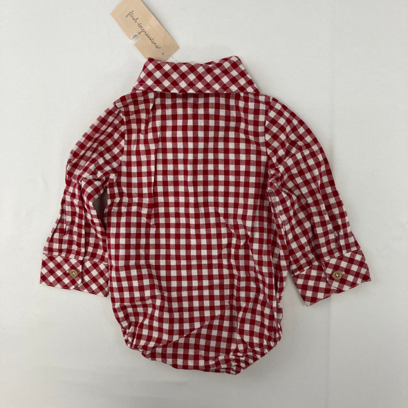 Red Checker Top 3-6 mth