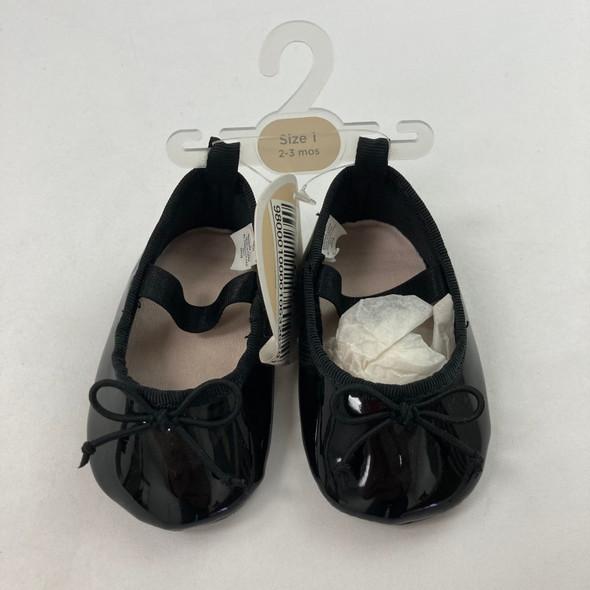 Black Ballet Shoes 2-3 mth