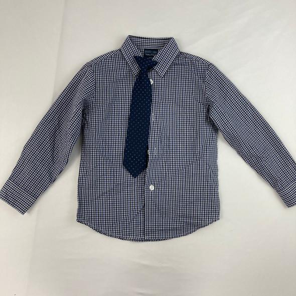 Navy Plaid Dress Top W/ Tie 4T