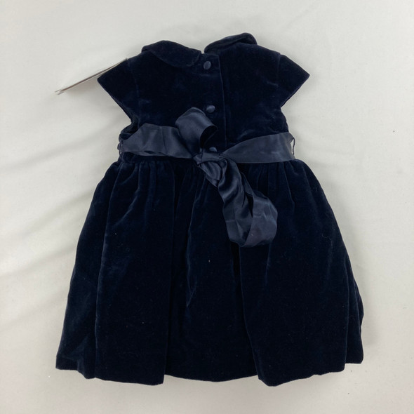 Velvet Collar Navy Dress 3 mth
