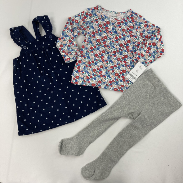 Floral 3-pc Overall Dress 12 mth