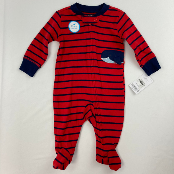 Whale Stripe Pajama 1-pc 3 mth
