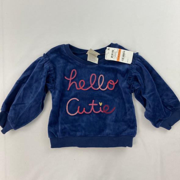 Hello Cutie Velour Top 12 mth