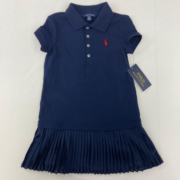 Navy Ruffle Polo Dress 4/4T