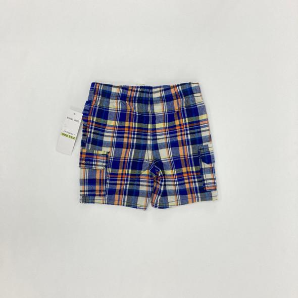 Blue Orange Plaid Shorts 3-6 mth