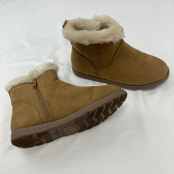 Tan Furry Suede Boots Size 6