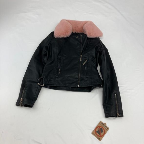 Faux-Leather Fluffy Hood jacket