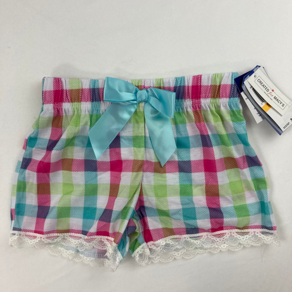 Plaid Elastic Waist Shorts S 6/6X