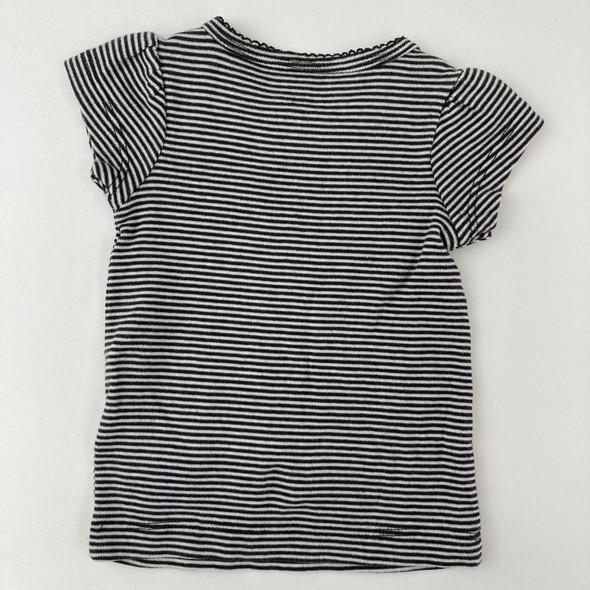 Black Striped Tee 3 mth