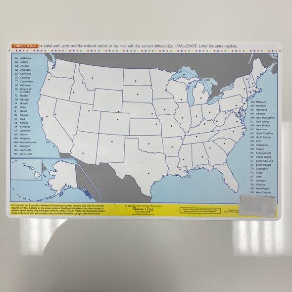 Learning Mat: U.S.A. Map