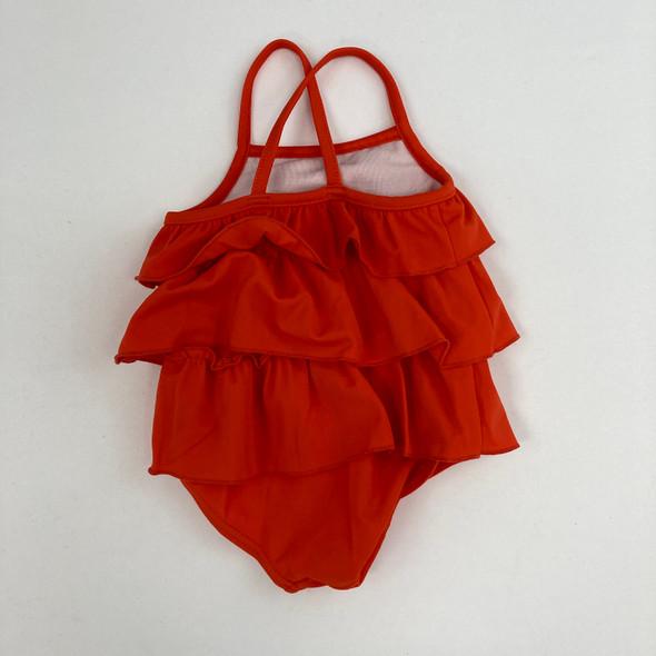 Orange Ruffle Swimsuit 3 mth