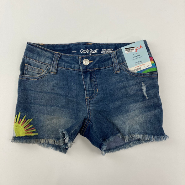 Embroidered Jean Shorts Medium Wash M