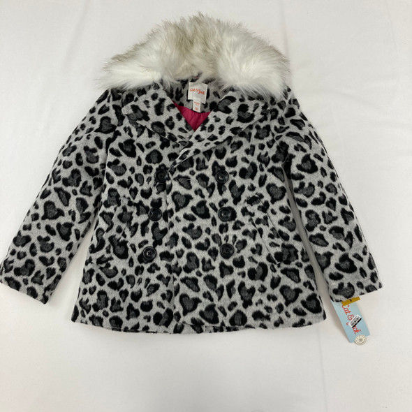 Leopard Faux Fur Wool Jacket XS 4/5 yr