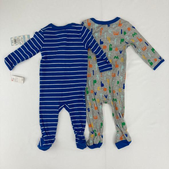 2pk Striped & Alphabet One Piece Pajamas 6-9 mth