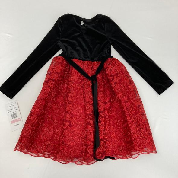 Velvet Drop Waist Floral Holiday Dress 10 yr