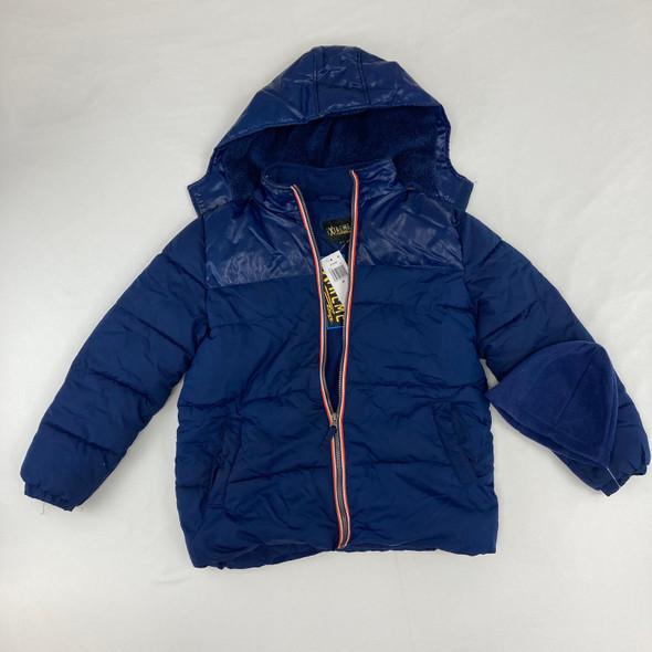Blue Puff Jacket With Hat Medium
