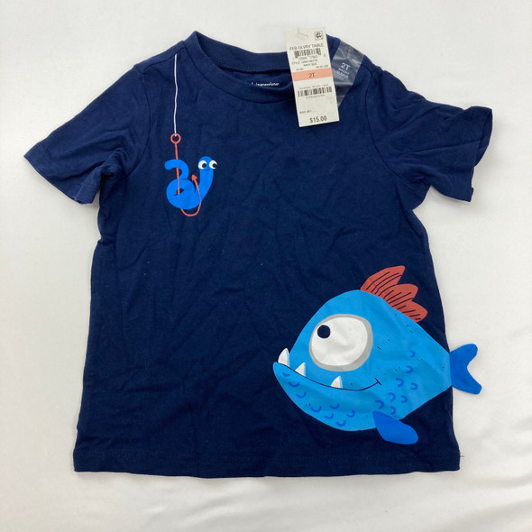Navy Fish Graphic Top 2T