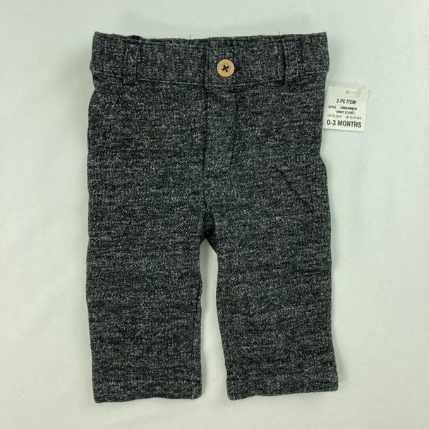 Dark Heather Button Pants 0-3 mth