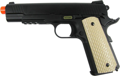 WE 1911 Full Metal Semi Auto Gas Blowback Pistol with Tan Grips