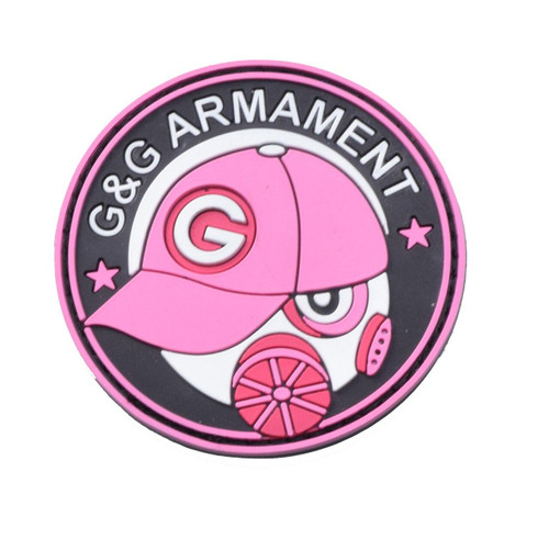 GandG Armament PVC Velcro Patch, Pink and White