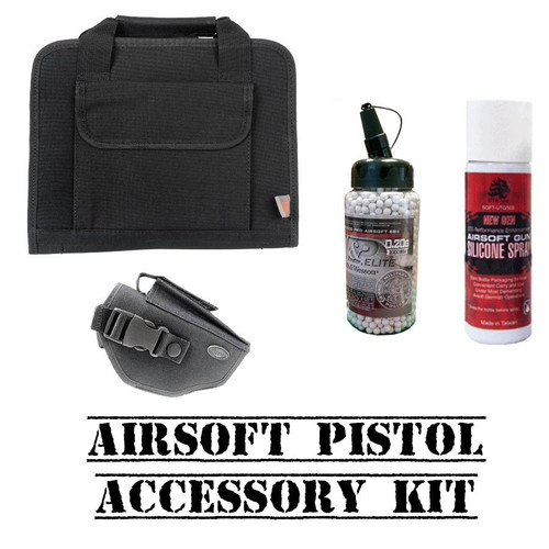 Airsoft Pistol Accessory Kit with Case, Holster, BBs, and Silicone Spray