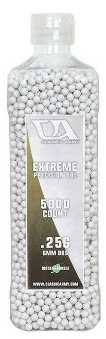 Classic Army 0.25g Extreme Precision Premium Biodegradable Airsoft BBs, 5000ct Bottle