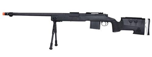 WellFire MB4417 M40A3 Bolt Action Airsoft Sniper Rifle w/ Bipod, Black