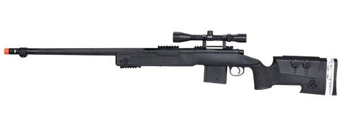 WellFire MB4417 M40A3 Bolt Action Airsoft Sniper Rifle w/ Scope, Black