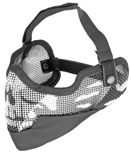 3G Steel Mesh Half Face Mask, Deluxe Version w/ Ear Protection, Black w/ Skull Design