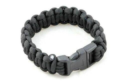 Paracord Large Survival Bracelet Black Military Airsoft Paintball Cobra Weave