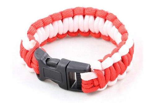 Paracord Large Survival Bracelet Red and White Military Airsoft Paintball Cobra Weave