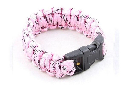 Paracord Small Survival Bracelet Pink Camo Military Airsoft Paintball Cobra Weave