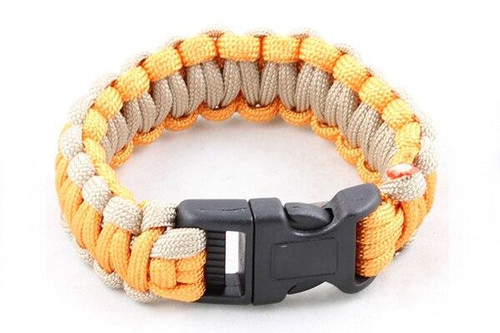 Paracord Large Survival Bracelet Orange and Tan Military Airsoft Paintball Cobra Weave