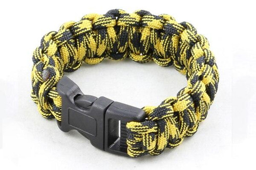 Paracord Large Survival Bracelet Yellow Camo Military Airsoft Paintball Cobra Weave