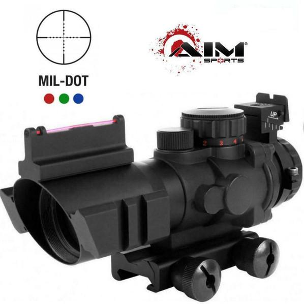 AIM Sports Tactical Railed 4x32 ACOG Style Scope, Blue/Green/Red Mil-Dot Reticle, Fiber Optic Backup Sights