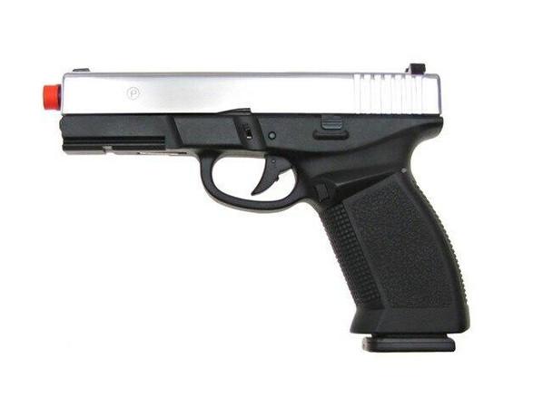 HFC Dark Hawk Full Metal Semi Auto Gas Blowback Pistol - Two-Tone Black/Silver