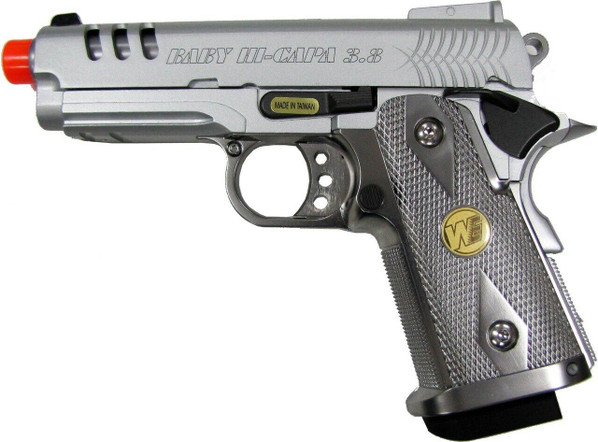 WE Baby Hi-Capa V3 Full Metal Semi Auto Gas/CO2 BlowbackAirsoft Pistol SIlver Edition