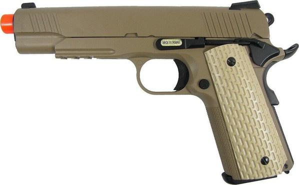WE 1911 Full Metal Semi Auto Gas Blowback Pistol - Desert Tan Edition
