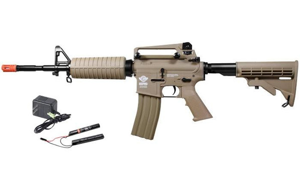 GandG Combat Machine CM16 Carbine M4 Airsoft Rifle w/ 9.6v Battery and Charger, Tan