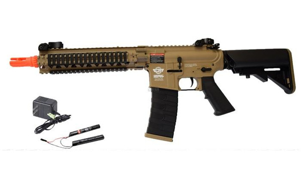 GandG CM18 MOD1 Airsoft Rifle AEG w/ 9.6v Battery and Charger, Tan