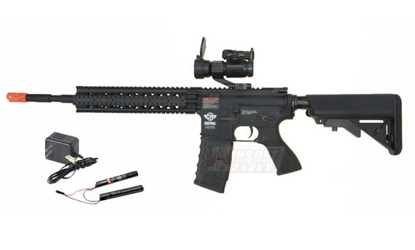 GandG CM16 R8-L AEG Airsoft Rifle w/ 9.6v Battery and Charger, Black