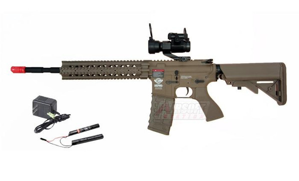 GandG CM16 R8-L AEG Airsoft Rifle w/ 9.6v Battery and Charger, Tan