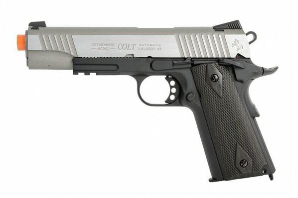 Colt 1911 .45 ACP CO2 Rail Gun Blowback Airsoft Pistol, Two-Tone