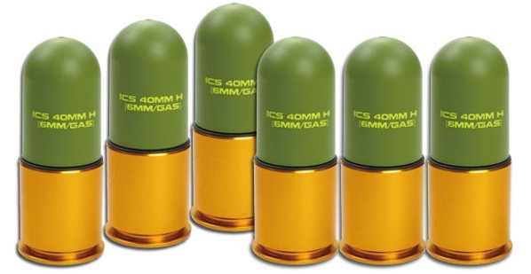 ICS Lightweight Airsoft Grenade Shells, 40mm, 70 Rd Capacity, 6 Pack