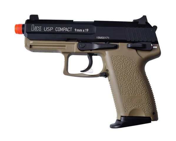 HandK USP Compact Tactical Gas Blowback Airsoft Pistol, Full Metal by KWA