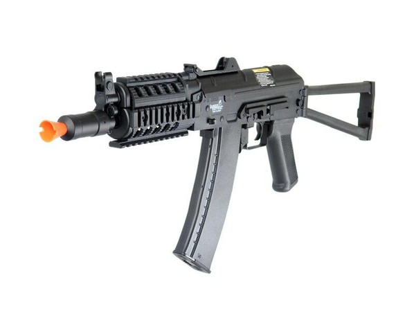 Lancer Tactical AK74U Tactical Metal Gearbox AEG with RIS, Side Folding Stock, Black - REFURBISHED