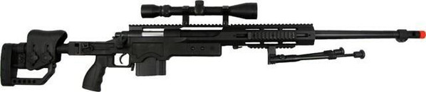 WELL Airsoft Spring EBR Sniper Rifle with Folding Stock, Scope, Bipod, and Quad RIS