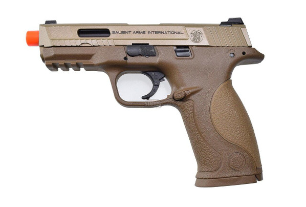 Salient Arms International Smith and Wesson MandP 9 Full Size Full/Semi-Auto Gas Blowback Airsoft Pistol - Tan/FDE