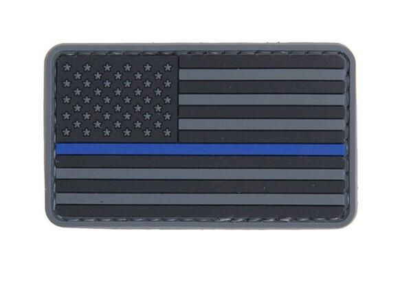 Thin Blue Line American Flag PVC Velcro Patch